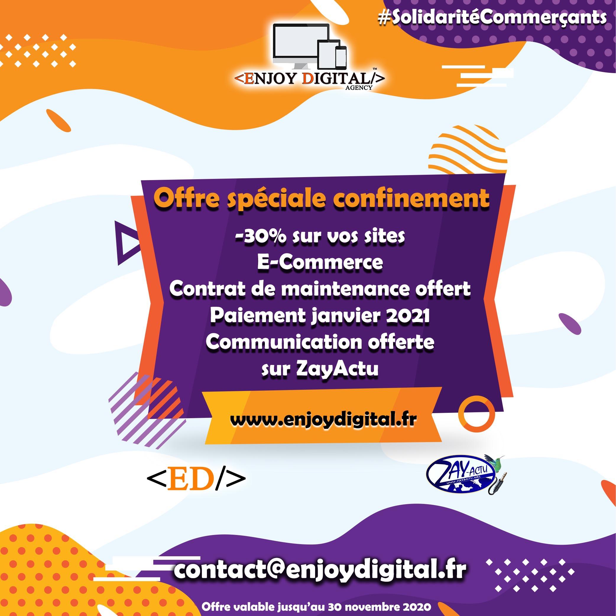 Offre spéciale confinement Enjoy Digital Agency